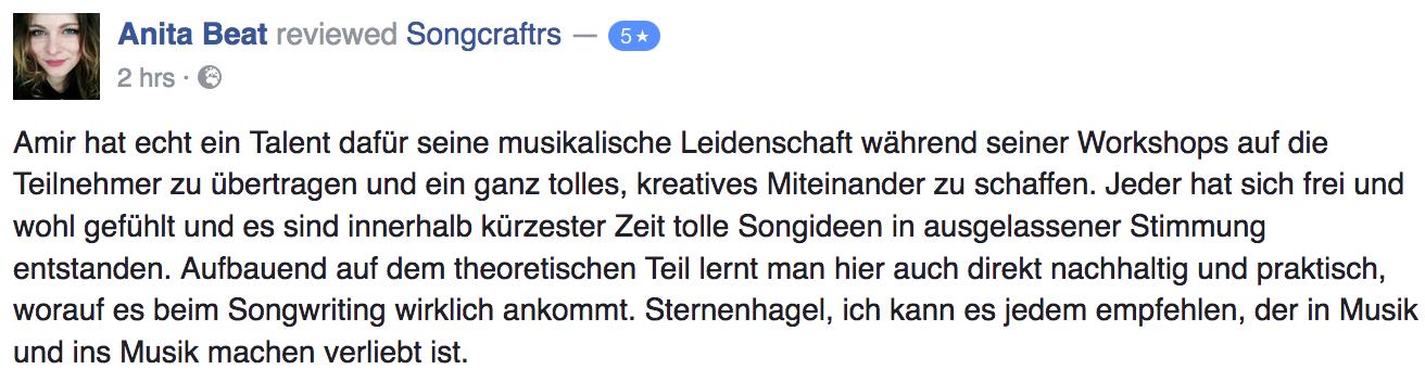 Songcraftrs Songwriting Workshop Academy Berlin Review Sandro Kortler Amir Rahimzadeh Anita Beat