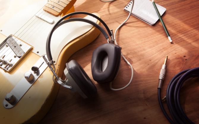 Songwriting - Vintage Fender - Headphones - Journal - shutterstock_226512484 - TH Featured
